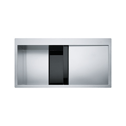 Crystal Line | CLV 214 | Stainless Steel-Glass Black | Sinks