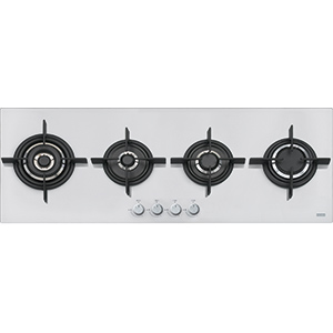 New Crystal | FHCR 1204 3G TC HE WH C | Glass White | Built in Hobs