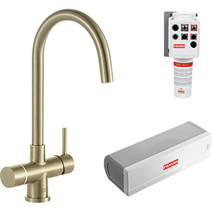 Minerva Electronic 4-in-1 Tap | Minerva Helix | Industrial Gold | Instant boiling water taps